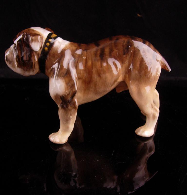 Bone China Bulldog - vintage signed Dog - royal doulton -fully intact figurine -