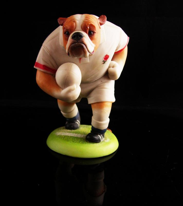 Signed Rugby statue - vintage English Bulldog in Uniform - sports gift - 1999 numbered figurine - RH Doggie People