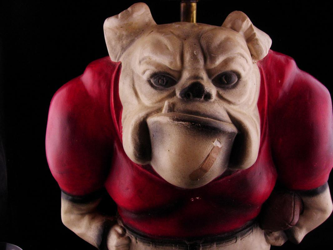 Vintage Huge Bulldog Lamp - Georgia Mascot - Continental Studios - signed dated light