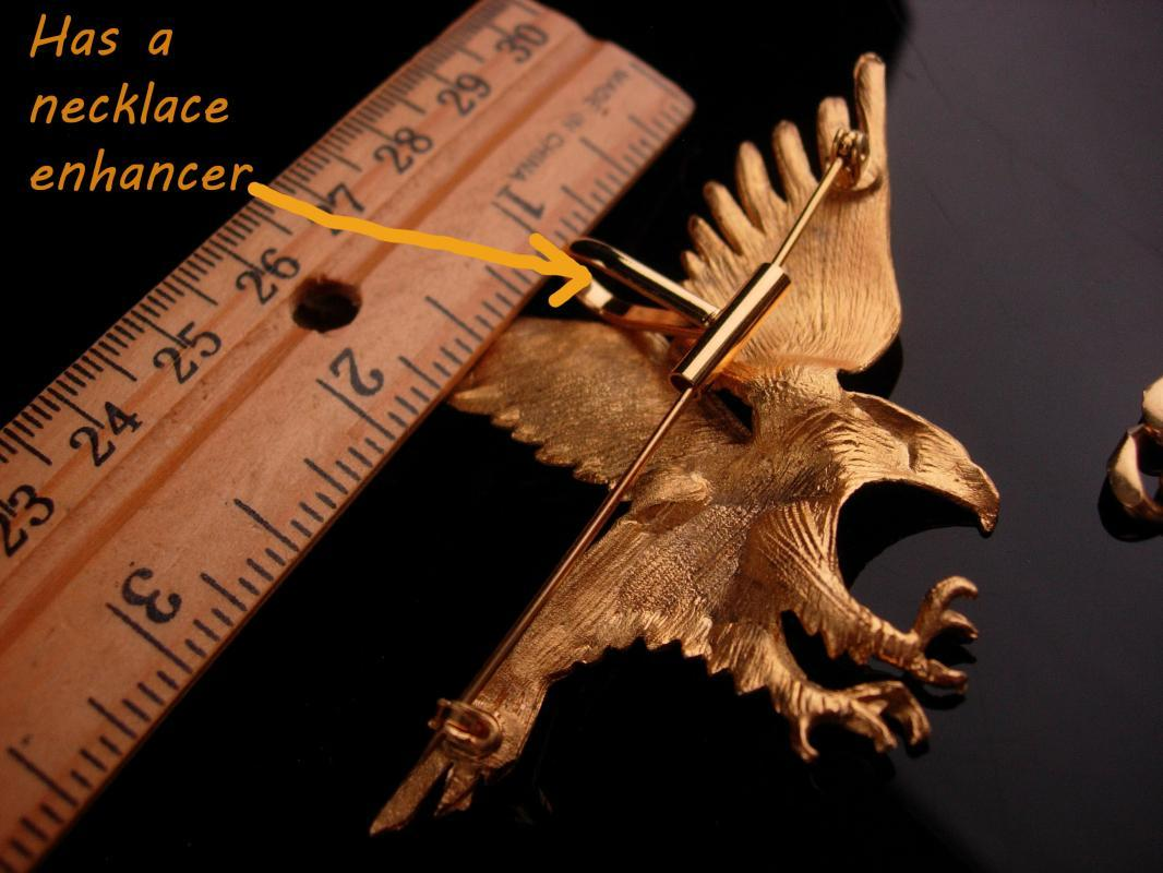 Vintage gold Eagle Brooch and Necklace - Military bird - Diamond cut set - Patriotic gift