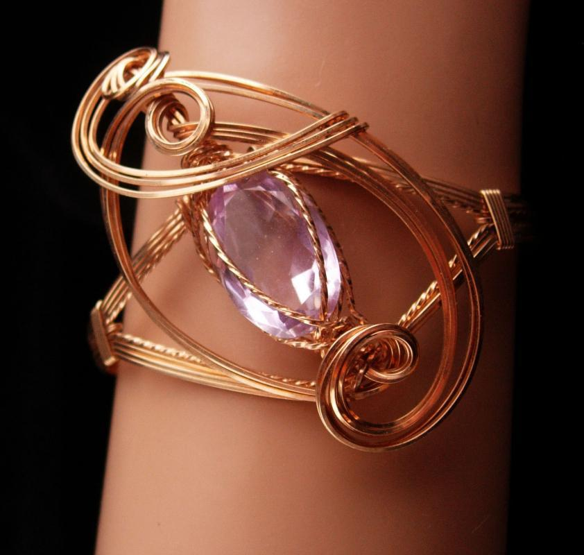 Large Statement Bracelet - Gold filled Amethyst cuff - Modernist design - OOAK - artist jewelry - February Birthstone