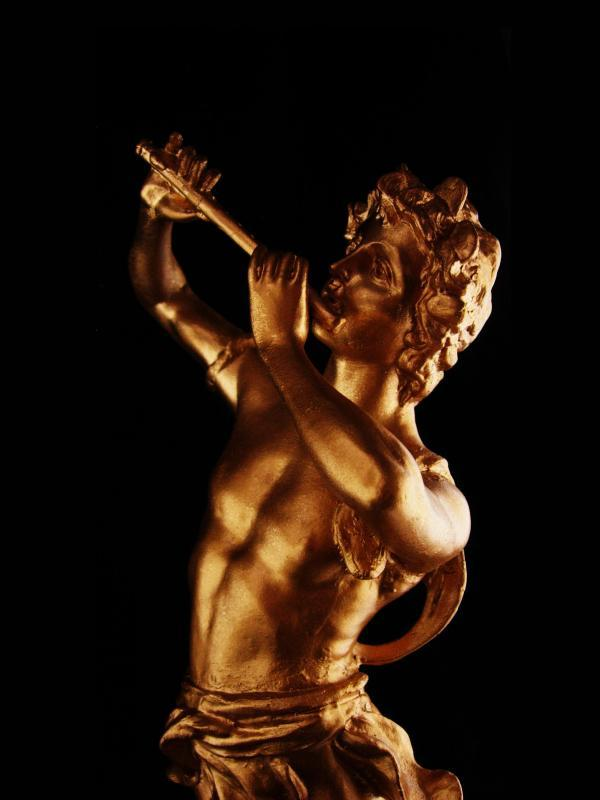 Huge Vintage Nude statue -  metal male figure - gold erotic sculpture - greek statue - mythology