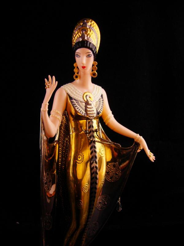 Exotic Egyptian Goddess statue - Erte Isis in gold and silver - Queen revival jewelry - numbered figurine