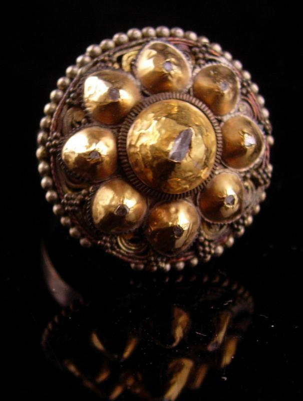 Vintage 9 Diamond ring - bizarre history - genuine stones size 7 1/2  gold one of a kind - cluster 14kt gold harem jewelry
