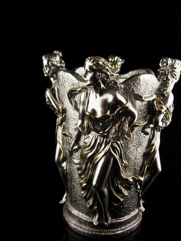 Vintage Goddess Vase - 4 seasons Urn - Horai silver bottle holder - Greek mythology - art nouveau women