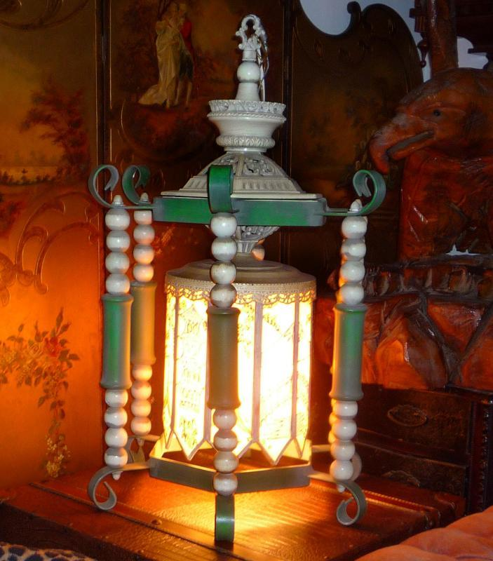 BIG Vintage Oriental Lamp - handpainted glass panels - hanging wrought iron - Asian pagoda - chinese lamp