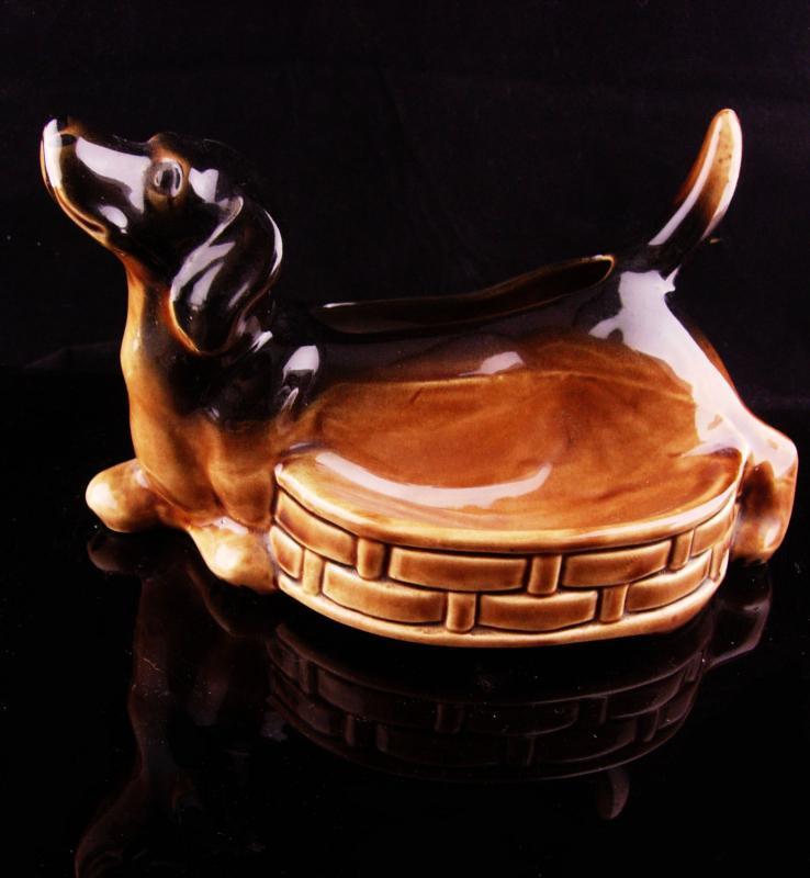 1950's Mens Dresser Caddy - Ceramic dachshund valet - whimsical dog gift - Pocketwatch wallet ring coin holder