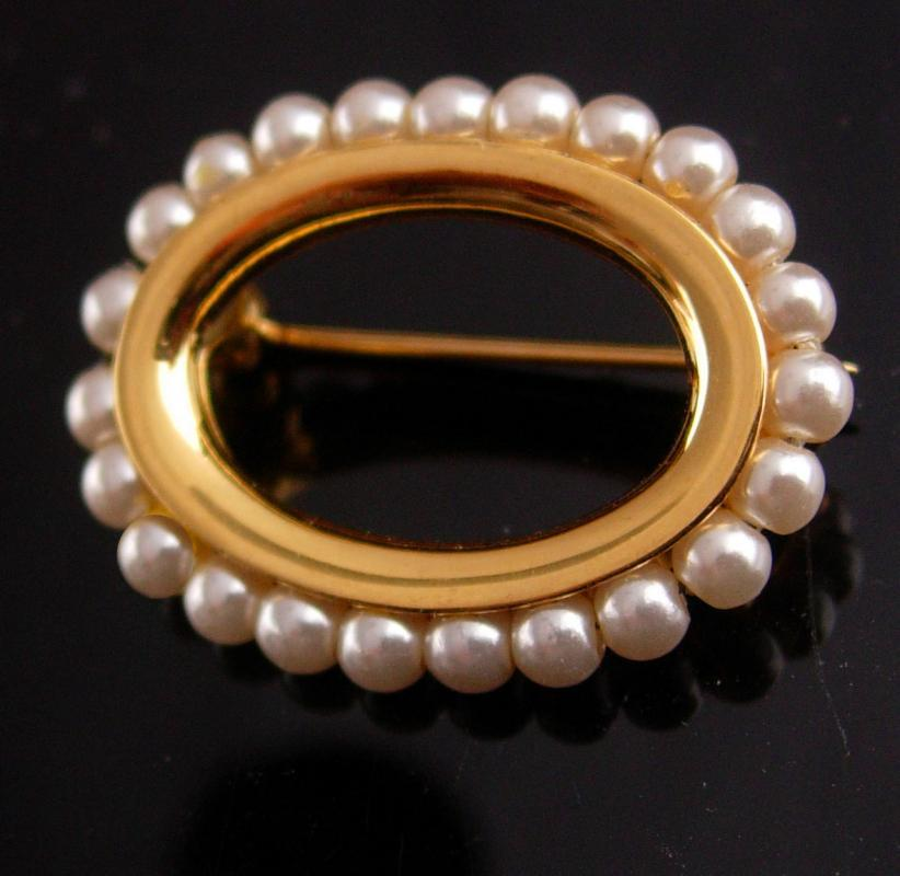 Edwardian pearl Brooch - Vintage Napier petite pin - estate jewelry - couture neck accessory - mother of the bride gift