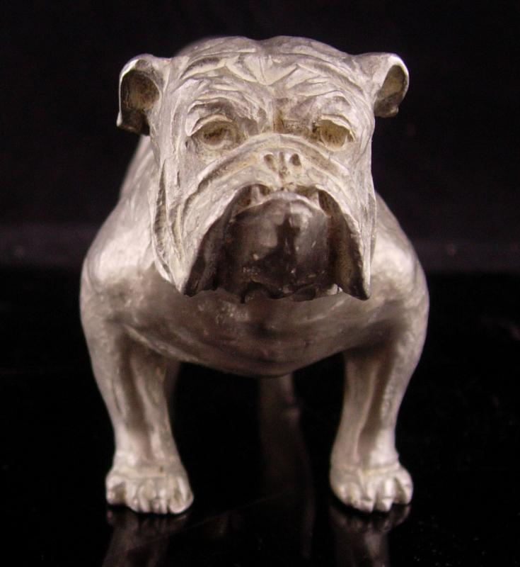 Vintage Metal Bulldog sculpture - buckle collar - MACK Truck statue - marine College football mascot - Figural dog lover