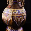 Antique Vase Chinese Champleve Enamel  Elephant handles ASIAN oriental Urn with jewels