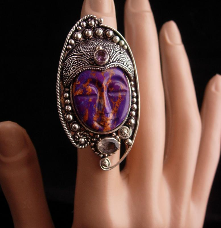 Large Jeweled Goddess ring - Amethyst aquarian accents - carved face - size 5 sterling womens jewelry