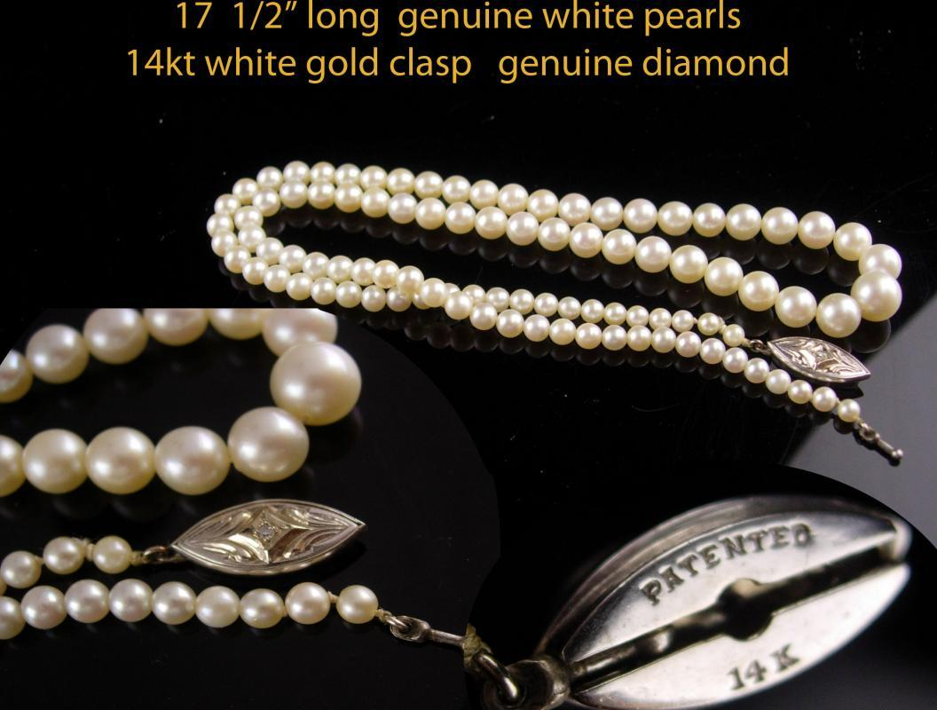 14kt white gold PEARL choker - diamond clasp necklace - Vintage 1950's  Ladies wedding jewelry - 1st 3rd 30th anniversary June birthday Gemini cancer