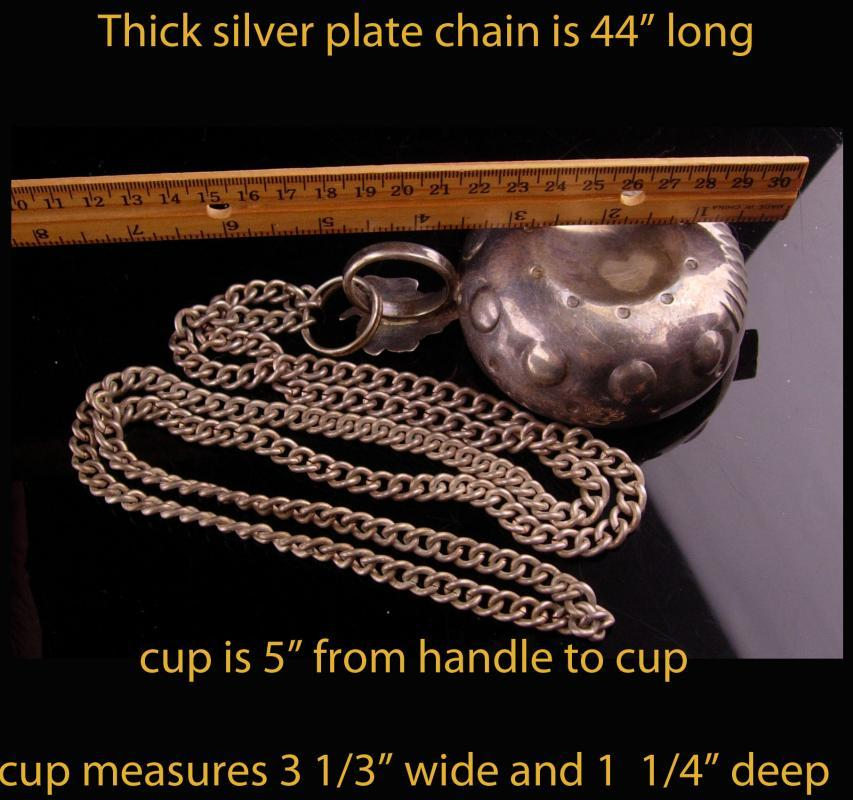 1800's wine tasting cup - Silver Grape Handle - Silver tastevin with chain - wine collector - one of a kind gift