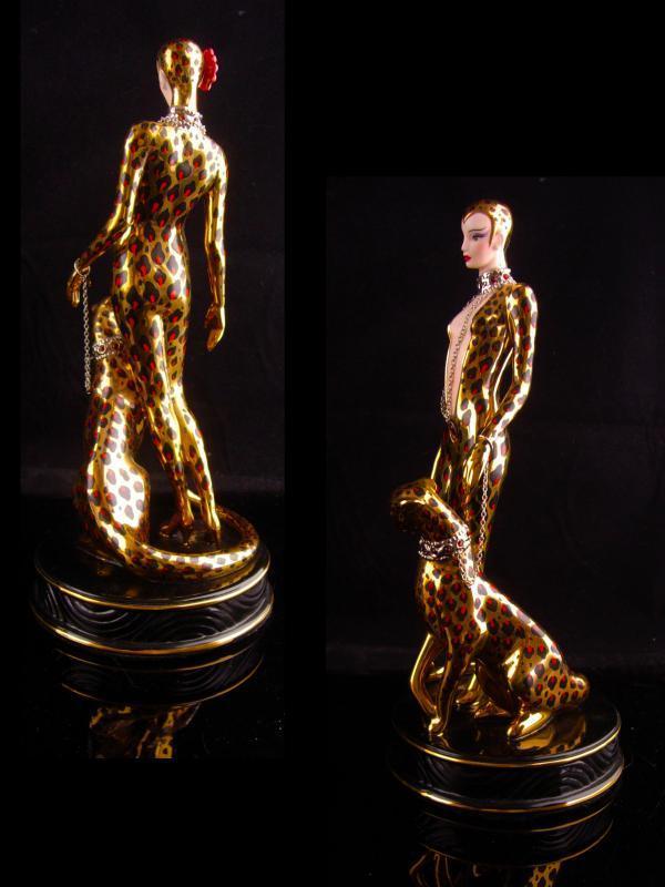Exotic Leopard Goddess statue - Vintage Erte cat panther figurine -Art deco woman - cat lady gift