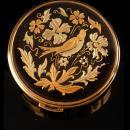Mourning Bird Compact - Victorian scene - vintage compact - etched flowers - damascene top