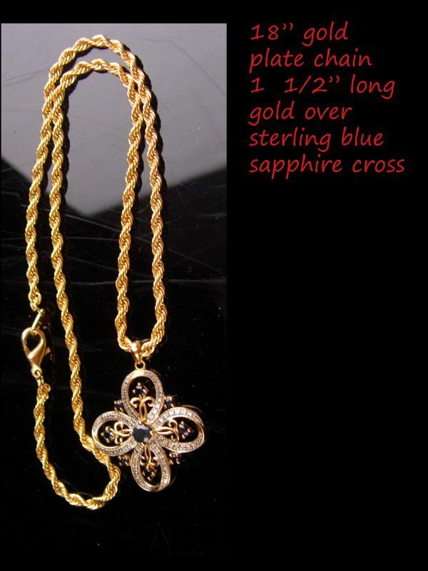 Blue Sapphire Celtic Cross - Gold over sterling / 18th 65th anniversary / December birthstone / birthday gift