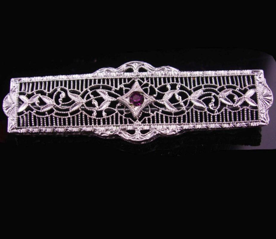 Antique Brooch / Art deco pin / silver filigree brooch / amethyst purple stone / february birthday / aquarius gift / vintage jewelry