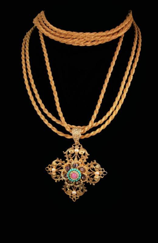 Vintage Renaissance Cross necklace bracelet - rhinestones pearls - interchangeable demi Baroque parure-  religious medal