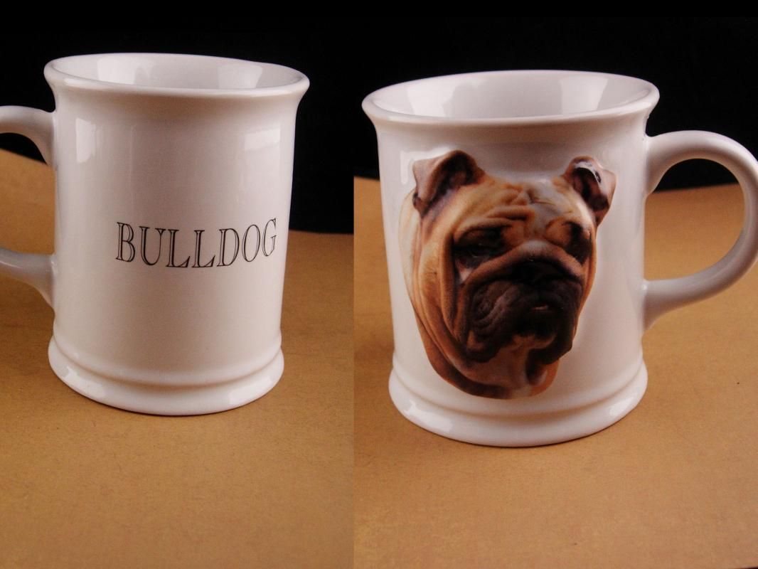 Vintage Bulldog Mug - 3 dimensional dog - 1999 coffee mug - English bulldog cup - Gift for dad