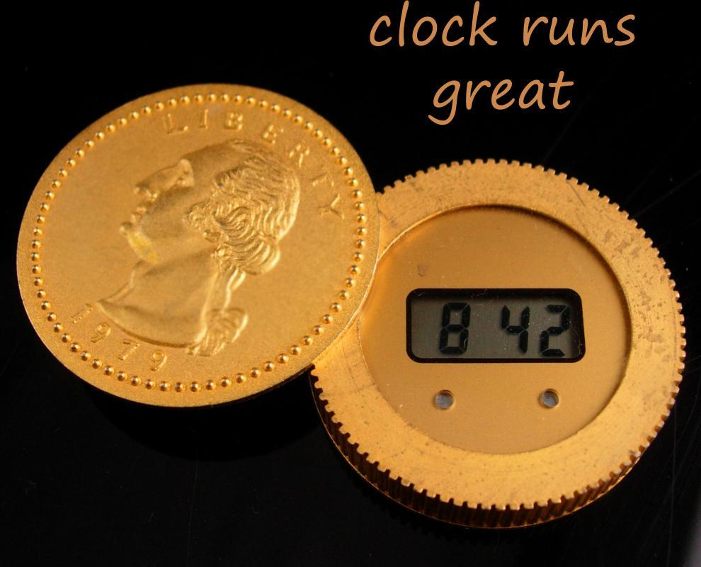 1979 Coin Clock - Large Gold quarter - One ounce Troy - Novelty Gift - birthday anniversary gift