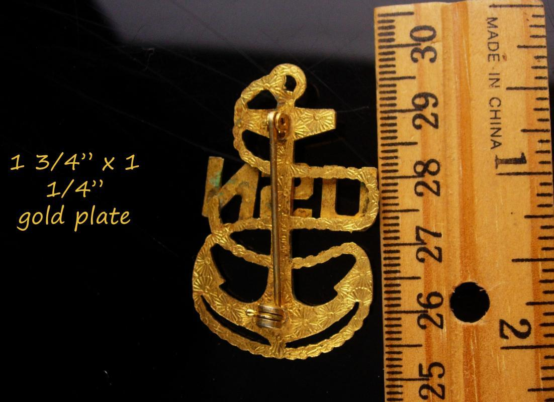 WW11 Navy Anchor Brooch - Military wives gift - big nautical jewelry - Vintage jewelry