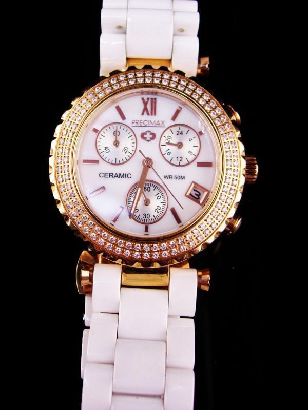 Swiss PRECIMAX white enamel band - Ceramic 150 Rhinestone watch / yellow gold plate band / mens womens bracelet watch / works great