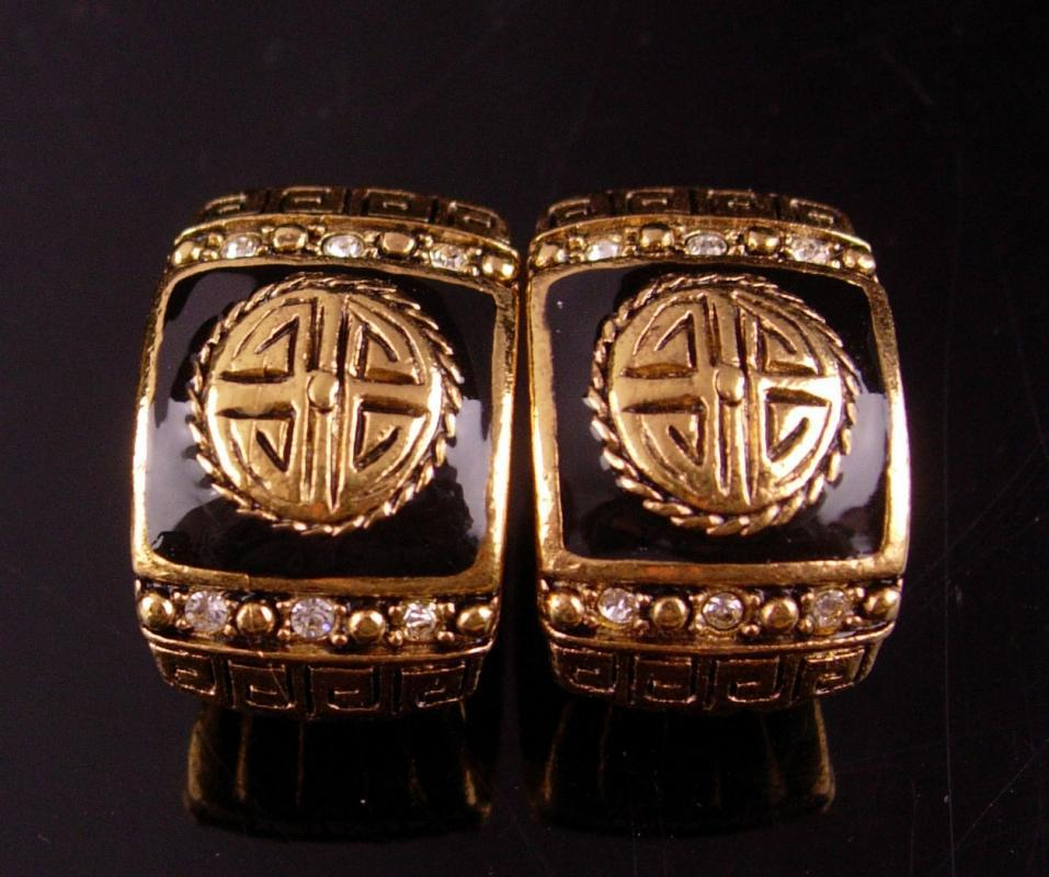 Vintage Greek Key earrings - couture pierced rhinestone set - black gold - eternity gift - signed costume jewelry
