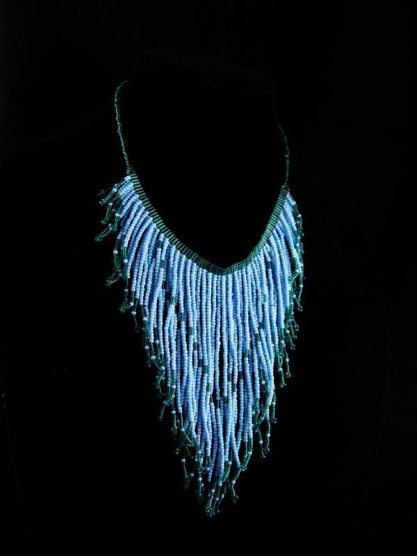 Gypsy fringe Necklace - Baby Blue bib choker - rhinestone teardrop statement bohemian necklace