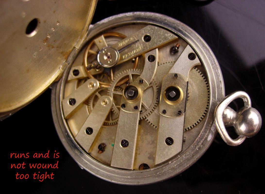 Antique silver Pocketwatch - original key - Monogrammed letter A - 4  rubies pocket watch- avance retard - Etched design -  steampunk clock