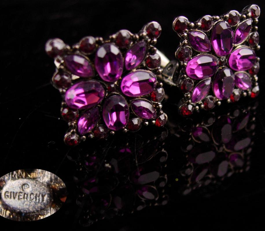 Vintage Givenchy earrings - Purple & garnet -  Couture Designer jewelry -amethyst original card  - anniversary gift - signed jewelry