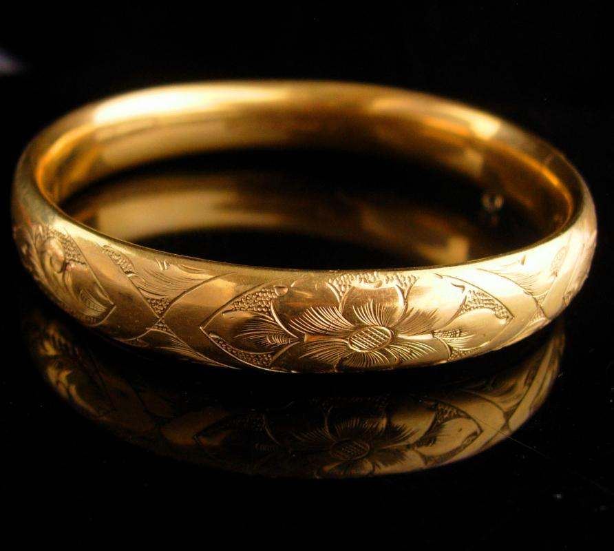 1900s Victorian bracelet / antique gold filled bangle / Hayward Hinged floral bracelet / estate jewelry - edwardian flower bracelet