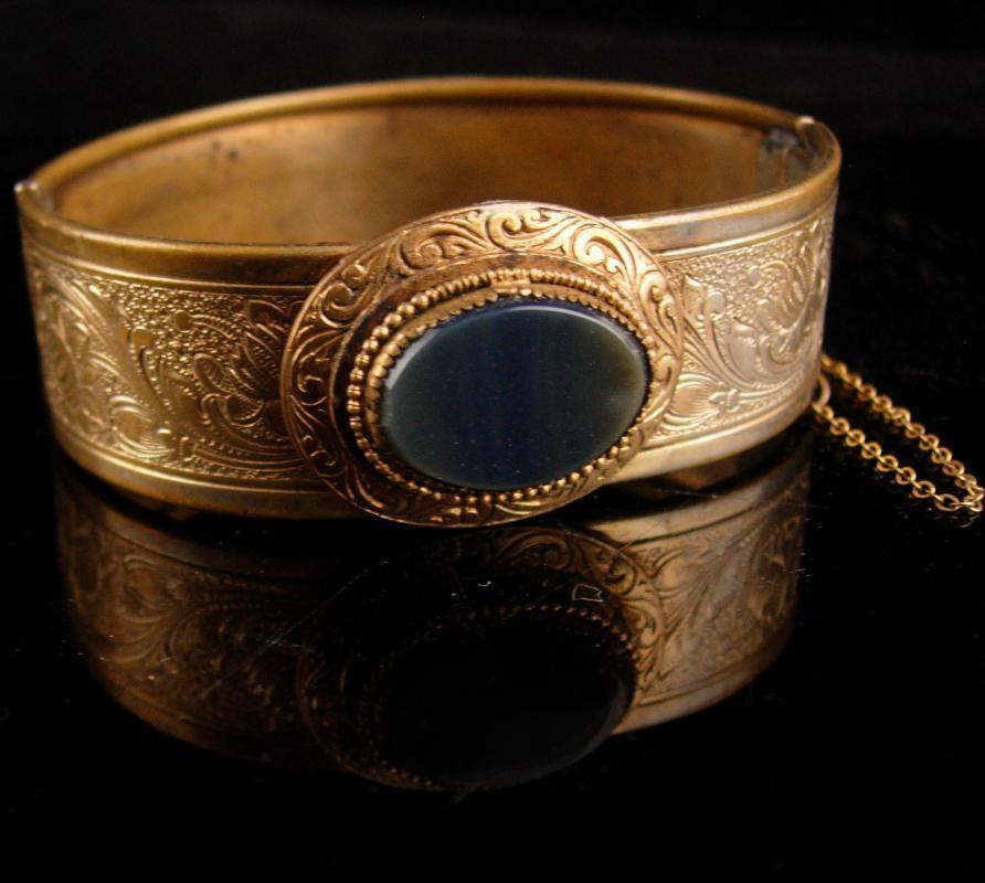 33924e130a5 Victorian haunted stone Bracelet - vintage ornate gold metal work - antique  hinged bangle bracelet