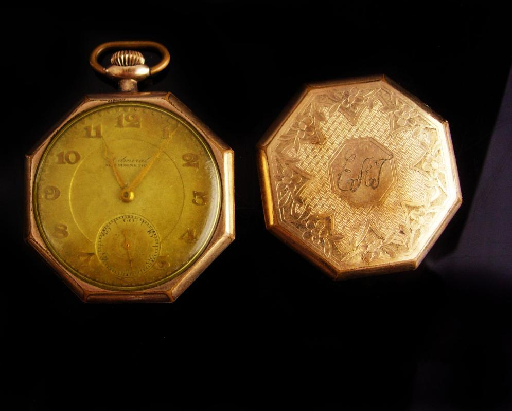 Antique Pocket watch -vintage 15 jewel - TACY Watch co - ADMIRAL gold filled initial E.a.L or E.A.T. - elgin napoleon case - need cleaning