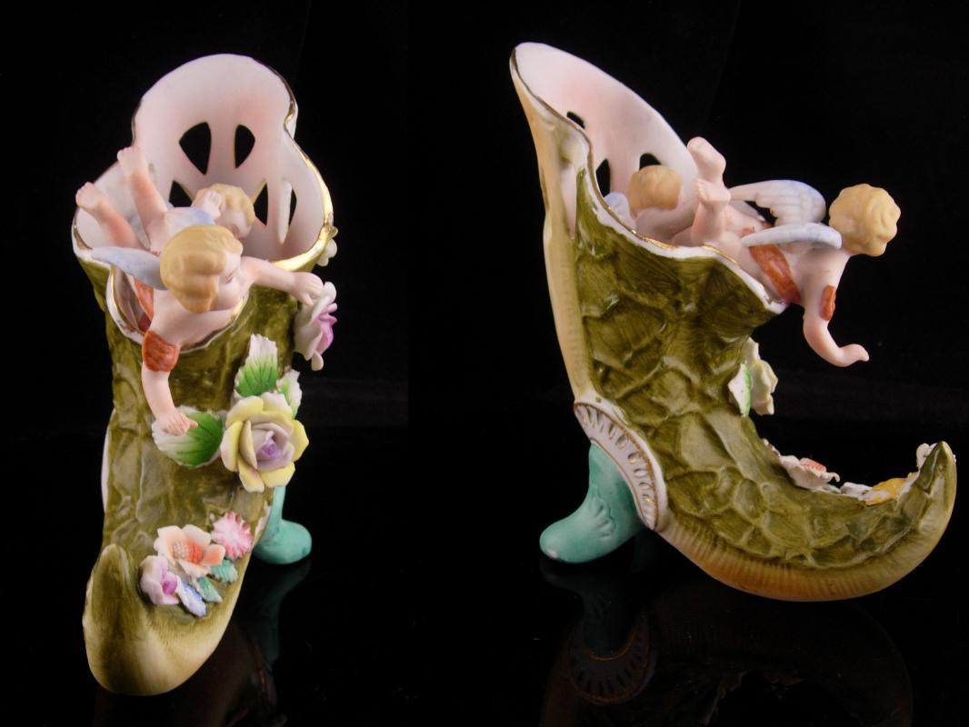 Antique Victorian Shoe - cherubs and flowers - porcelain horn - vintage whimiscal angels