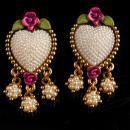 Vintage pearl Heart Earrings - clip on pink roses - handpainted jewelry - signed earrings - original card - wedding jewelry