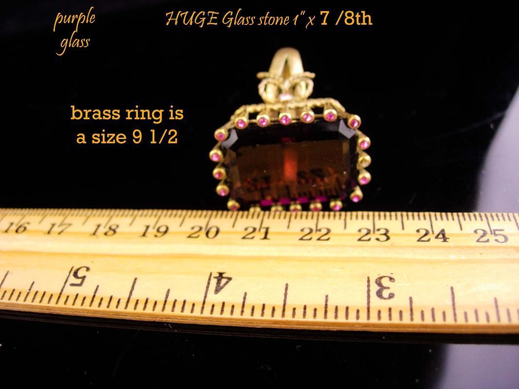 HUGE Ring / Amethyst costume ring / Vintage statement setting / February Birthstone / size 9 1/2 /  Aquarius gift