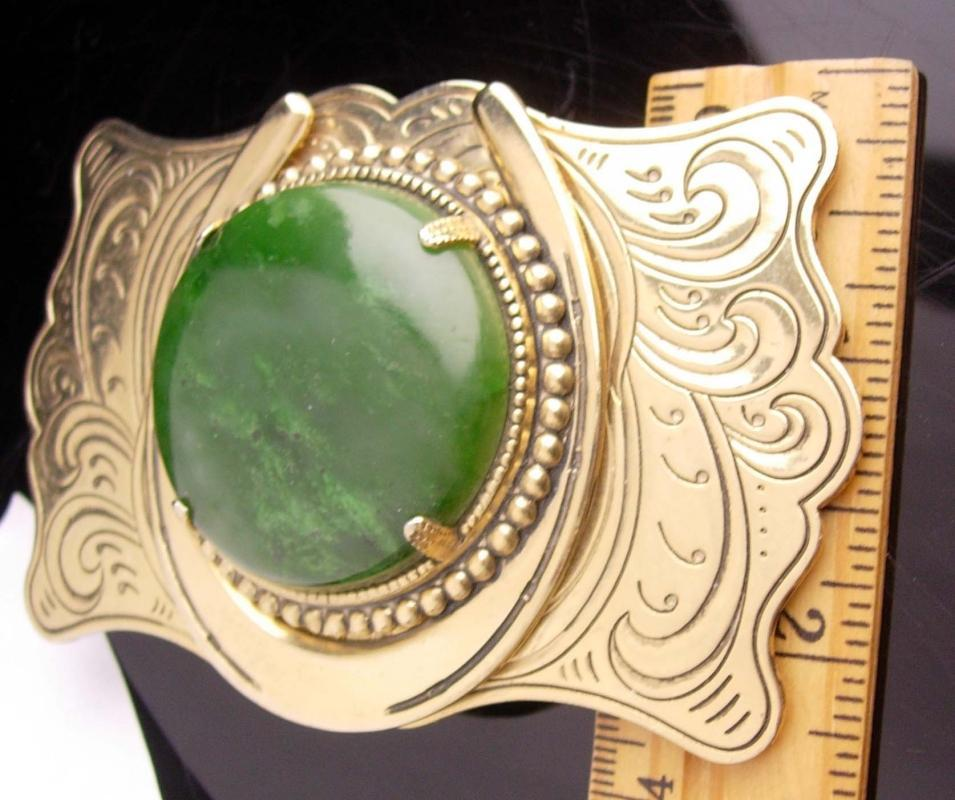 Men's Buckle - good luck horseshoe - Vintage rodeo - Malachite - Texas buckle