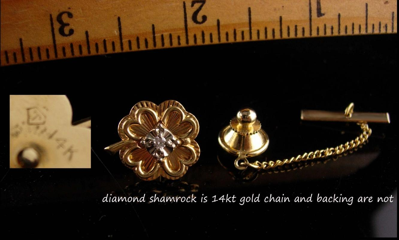 Vintage diamond tie tack - 14kt gold Lucky clover - Irish sweetheart shamrock - Celtic Promise  - Friendship gift - groom jewelry