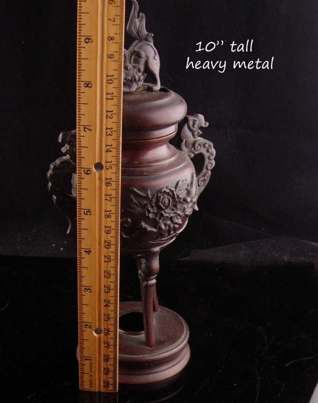 Antique Chinese Foo Dog Dragon Incense Burner strange creatures bronze footed stand