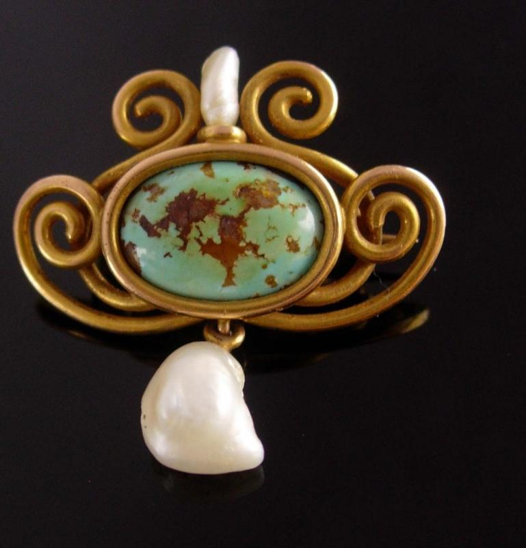 Antique 14kt GOLD brooch - Victorian pin - Turquoise pearl - edwardian jewelry - estate jewelry - vintage gold brooch