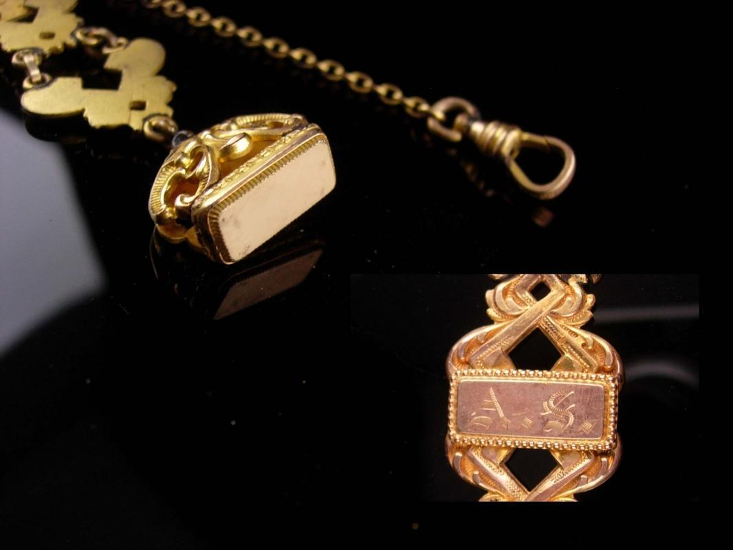 Antique pocketwatch fob chain - Initials AS - wax seals - Yellow rose gold plate pocket watch chain - Victorian vest watch chain