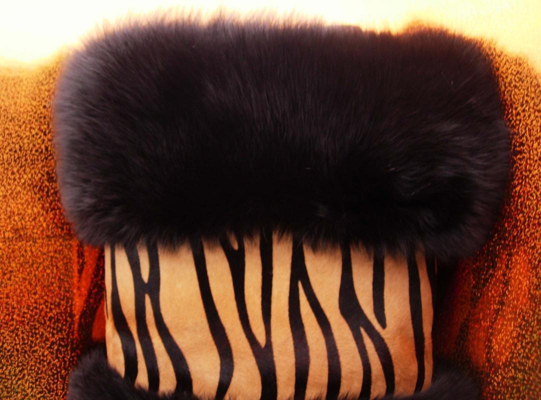 Huge Leopard Fur Hand Warmer - the fur vault - zebra Muff Clutch Bag - zipper inside - 16 x 14