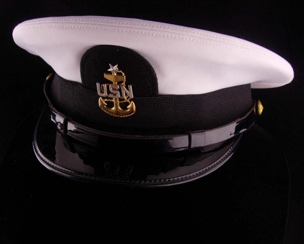 Vintage USN officer hat - US NAVY white mens Officers Hat -  Size 6 7/8 Bancroft Cap - midshipman - Military anchor eagle