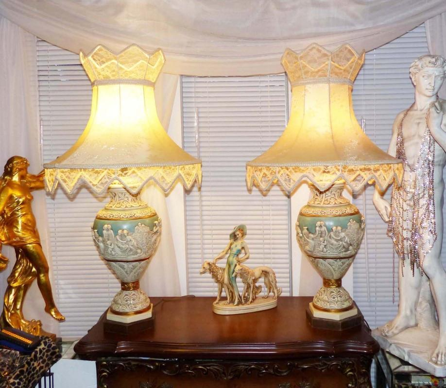 Pair Vintage French Nude Lamps - Marie Antoinette blue - ornate silk shades - table lamps