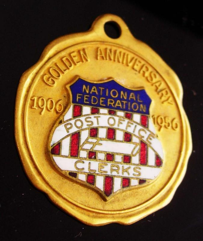 1956 Postal Clerk Medal - national federation - 1906 - 1956 - enamel fob - USA shield