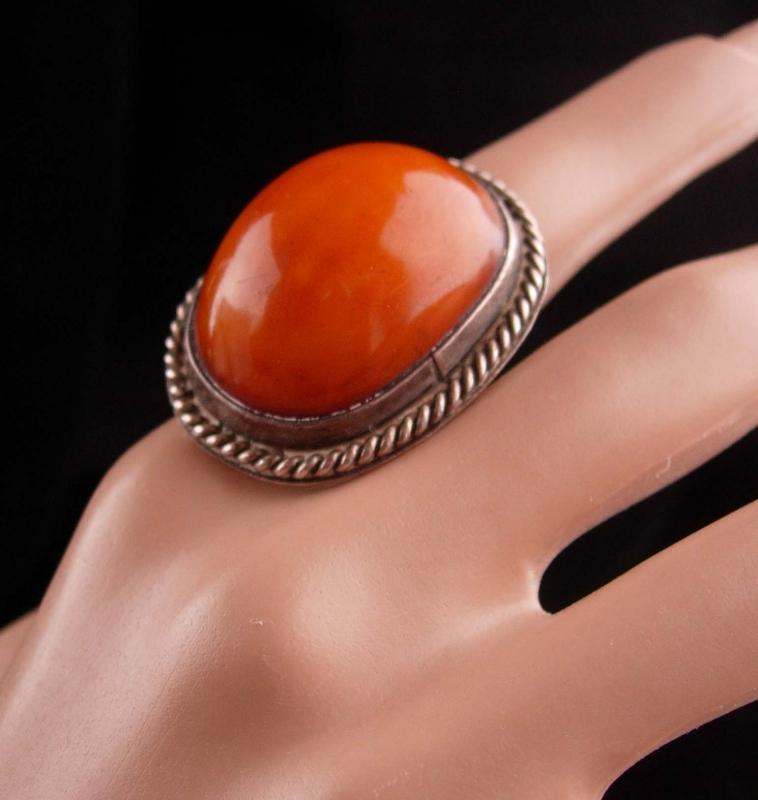 HUGE Vintage amber Ring / sterling silver - statement jewelry - size 7 - BIG jewelry