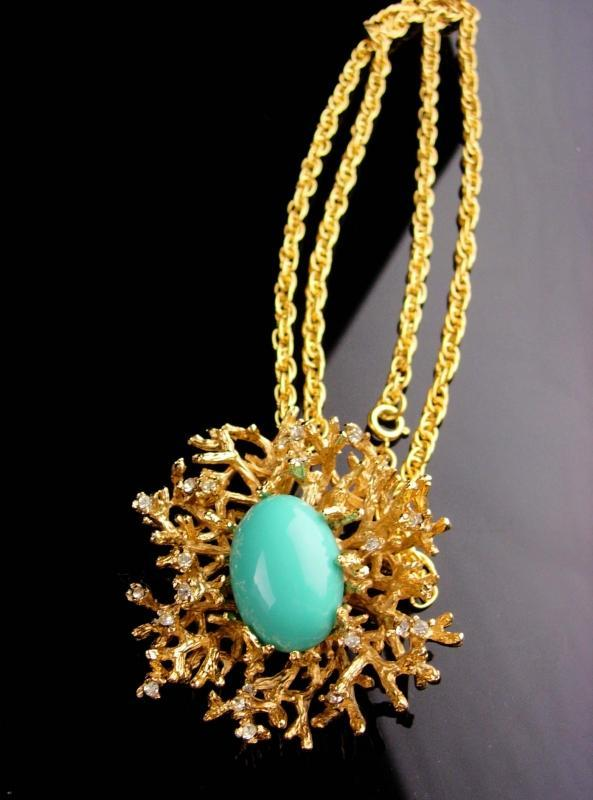 Vintage Signed BiG Brooch - Panetta pendant necklace - turquoise rhinestone spray - couture jewery