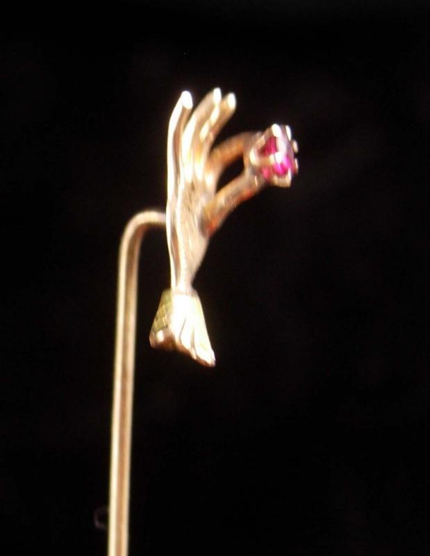 Antique Victorian Ruby Stickpin - 10kt Gold hand brooch - figural  Wedding lapel pin - Birthday for him or her