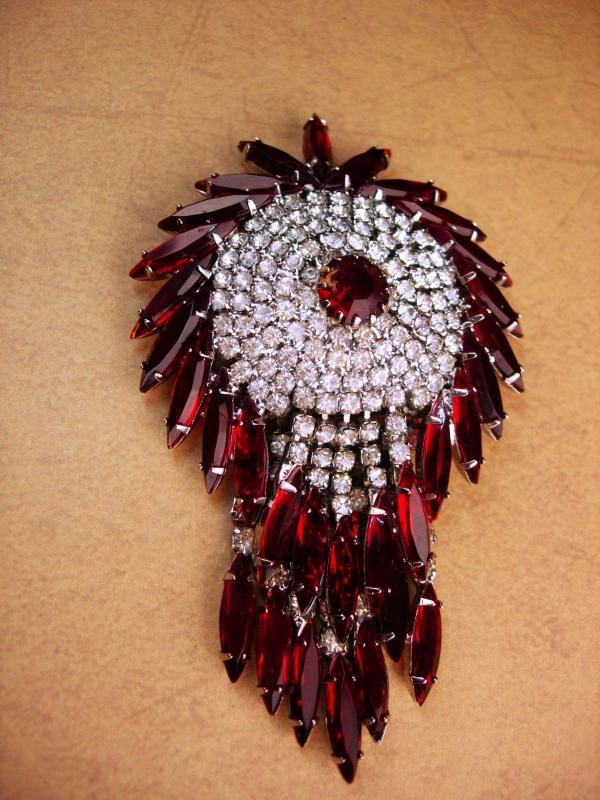 HUGE red Kramer Brooch - Big Rhinestone tassels -  Vintage chandelier pin -signed jewelry - estate jewelry - costume jewelry