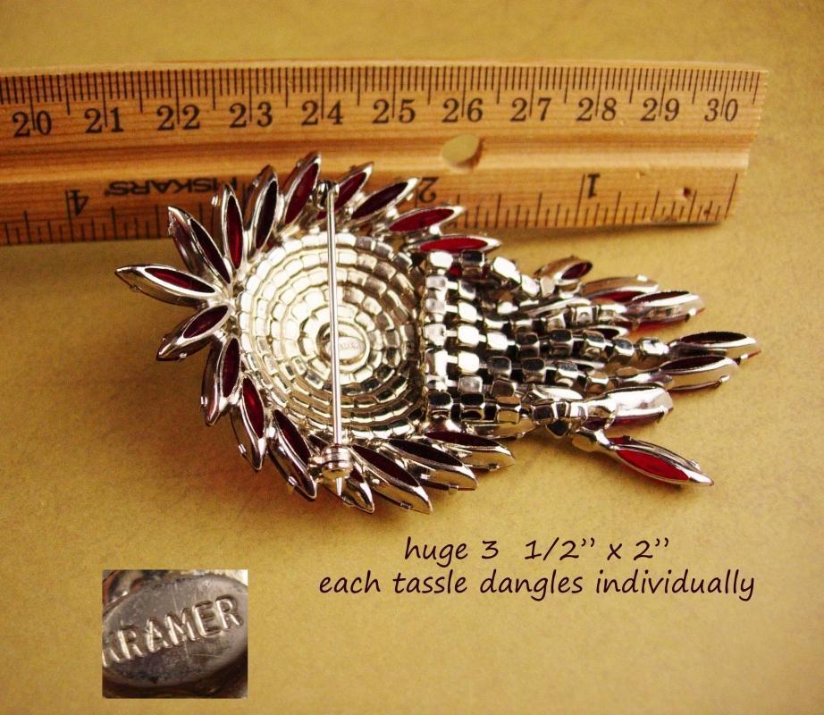 HUGE red Kramer Brooch - Big Rhinestone tassels -  Vintage chandelier pin -signed jewelry - estate jewelry - costume jewelry
